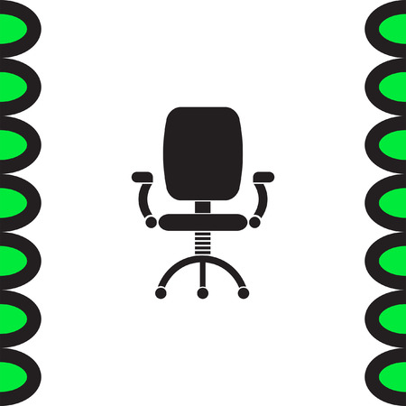 office furniture: Office chair vector icon. Working furniture sign. Comfortable seat symbol