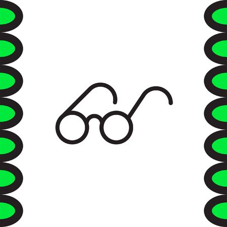 eye wear: Glasses sign line vector icon. Reading accessory sign. Search symbol UI control.
