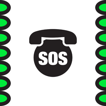sos: SOS phone vector icon. Emergency contact sign. EMS cell service symbol Illustration