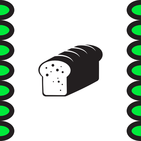 toasted: Toast bread vector icon. Whole grain food sign. Sweet loaf symbol. Bakery icon.
