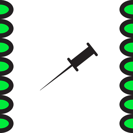 bulletin: Pushpin vector icon. Needle sign. Bulletin board note symbol