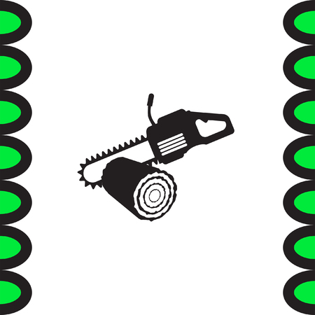 timber industry: Chainsaw with stump vector icon. Timber industry symbol. Illustration