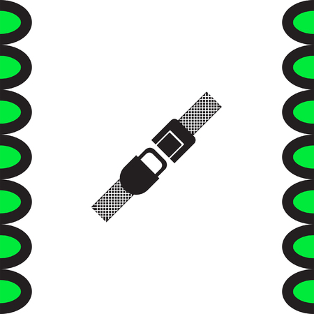 to fasten: Seat belt vector icon. Safety car device sign. Fasten airplane belt symbol Illustration