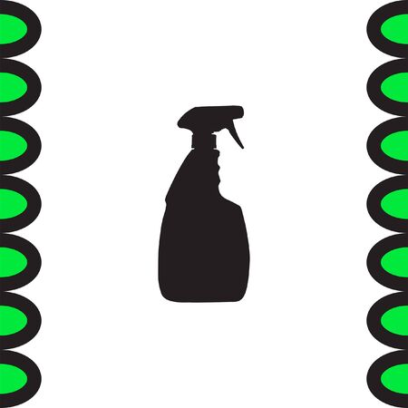chemical cleaning: Household cleaning bottle vector icon. Disinfection spray sign. Liquid detergent symbol