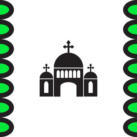Church vector icon. Monastery sign. Temple symbol. Religious building icon. Illustration