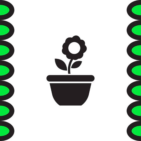 saplings: Flower vector icon. Plant symbol. Flowerpot sign