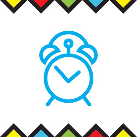Analog alarm clock line vector icon. Watch with bell symbol. Time sign. Illustration