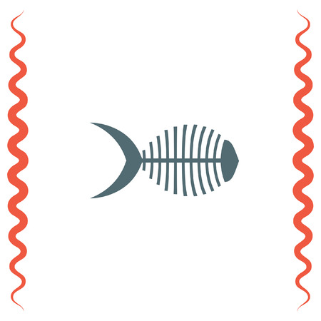 dead sea: Fish bone vector icon. Herringbone sign. Leftovers symbol