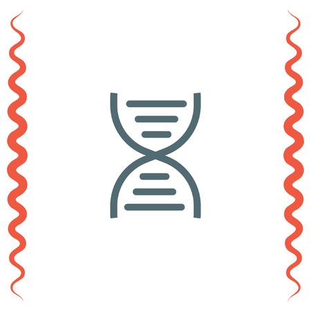adenine: DNA chain sign line vector icon. Genetic structure sign. Biology science symbol.