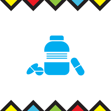 Bottle with pills vector icon. Pharmacy sign. Health care medicament symbol.
