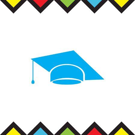 Graduation cap vector icon. Finals sign. Diplomatic hat Illustration