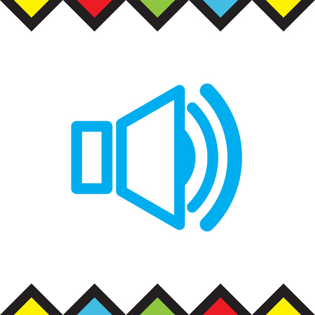 speakers: Speaker vector icon. Audio symbol. UI control sound sign. Music pictograph.