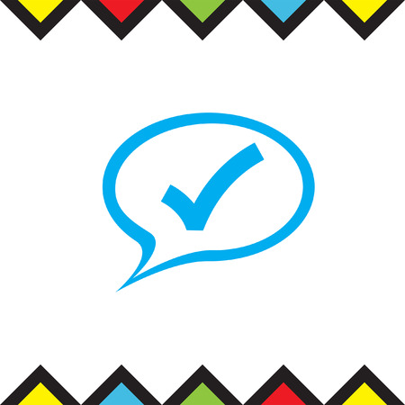 confirmation: Speech bubble and ok sign vector icon. Confirmation symbol in a cloud. Check mark pictograph Illustration