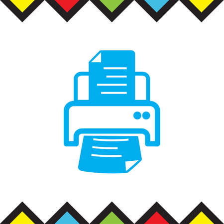 Printer sign vector icon. Print document technology sign. Office printing device symbol.