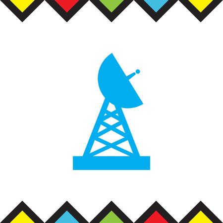 Satellite antenna icon. Wireless internet sign. Telecommunication technology symbol Illustration