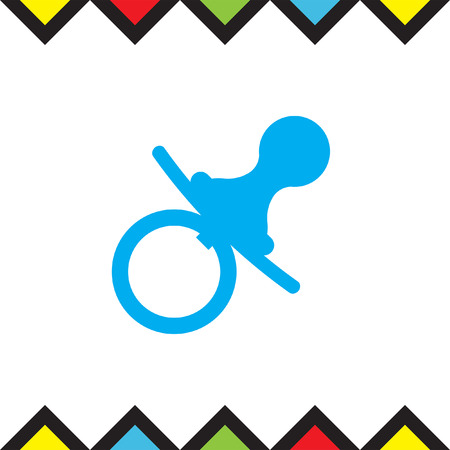 Pacifier nipple vector icon. Baby soother sign. Child equipment symbol
