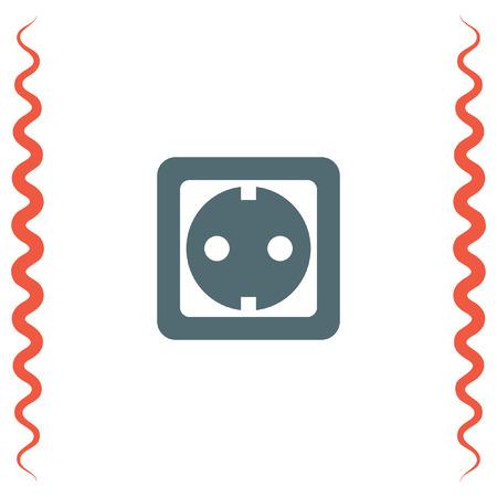 plug socket: Power socket vector icon. Electric outlet sign. Power plug symbol Illustration