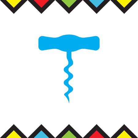 cork screw: Corkscrew vector icon. Vine opener sign. Alcohol drink symbol Illustration