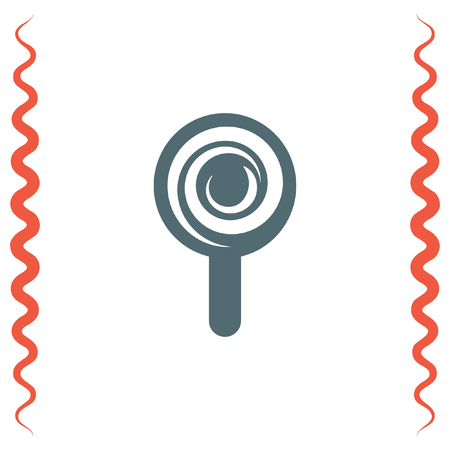 lolly pop: Candy cane vector icon. Sugar lolly pop symbol. Sweet lollypop sign. Illustration