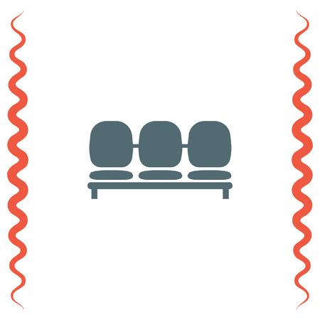 Aéroport vecteur Seat icône. Salle d'attente préside symbole.