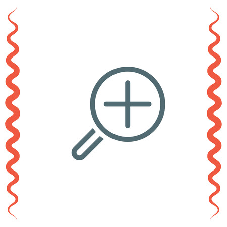 zoom in: Zoom in sign line vector icon. Magnifying glass vector icon. Search icon.