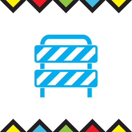 barricade: Traffic barrier vector icon. Road block sign. Safety barricade symbol.