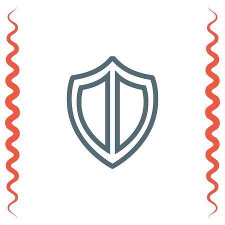 honour guard: Shield sign line vector icon. Protection symbol vector icon. Royal defense symbol. Illustration