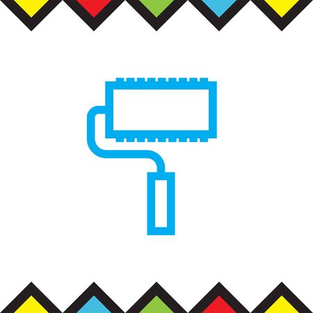 repaint: Paint roller sign line vector icon. Paintbrush tool sign. Color symbol icon.