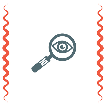 magnification: Magnifying glass with eye vector icon. Search sign. Zoom symbol. Find pictograph