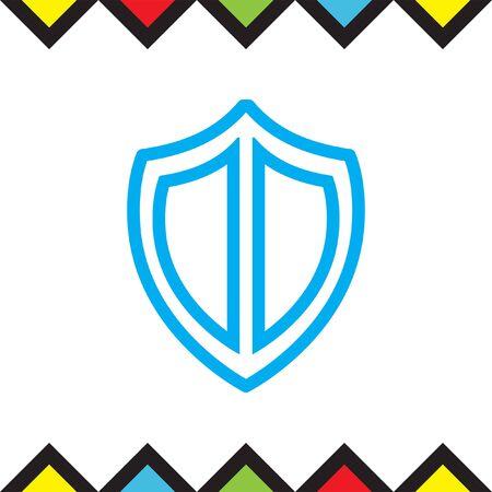 Shield sign line vector icon. Protection symbol vector icon. Royal defense symbol. Illustration