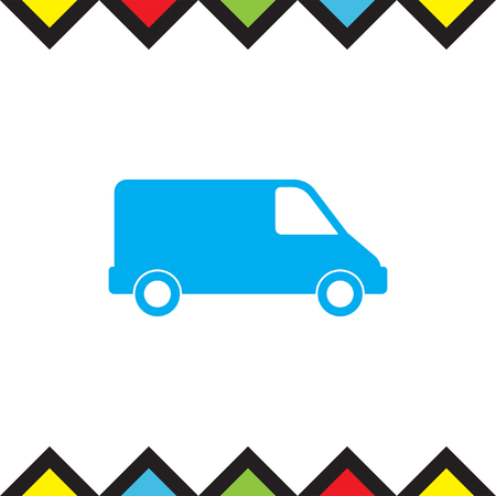 mini van: Commercial Van vector icon. Pick up truck sign. Mini van symbol.