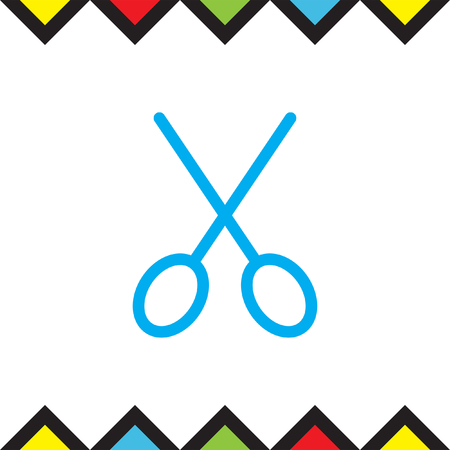 cut line: Scissors sign line vector icon. Cut symbol. Hairdressing sign. Grooming line symbol.
