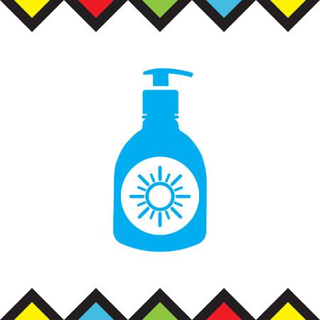 sunblock: Sun lotion vector icon. Skin protection sign. Sunscreen and sunblock symbol Illustration