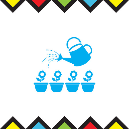 watering plants: Garden sprinkler bucket vector icon. Flowerpot sign. Watering plants symbol Illustration