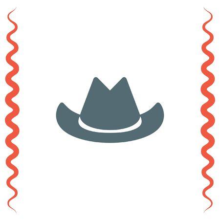 head wear: Cowboy hat vector icon. Western head wear sign.
