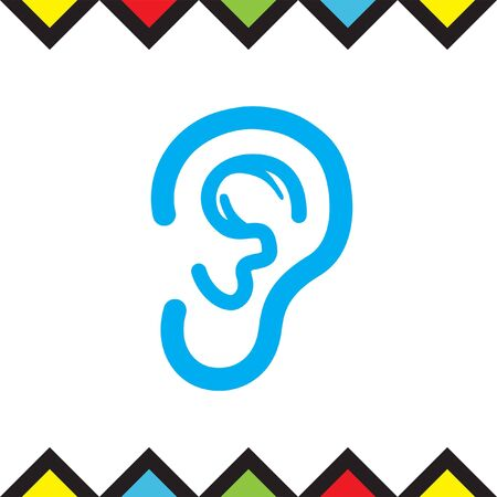 Ear vector icon. Hands free sign. Hearing symbol Illustration