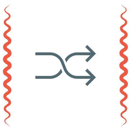 mixed: Shuffle button sign line vector icon. UI control Shuffle button. Mixed arrows sign. Randomize symbol.