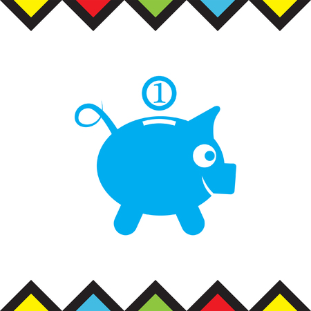 saving accounts: Piggy bank vector icon. Money saving sign. Coin save symbol