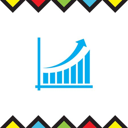 increase diagram: Chart with arrow and bars vector icon. Growth vector icon. Success sign icon. Finance graph line icon.