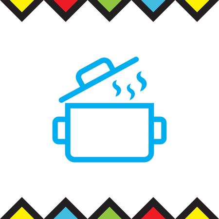 Cooking pot sign line vector icon. Kitchen equipment sign. Restaurant symbol