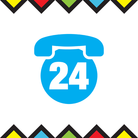 24h: Phone 24h vector icon. Non stop support sign. Customer care symbol