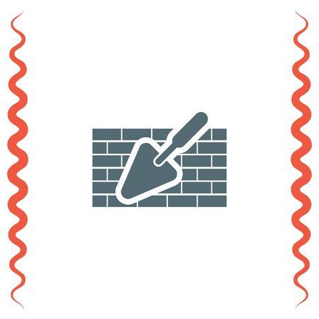 plastering: Trowel with brick wall vector icon. Construction mason equipment. Plastering spatula symbol