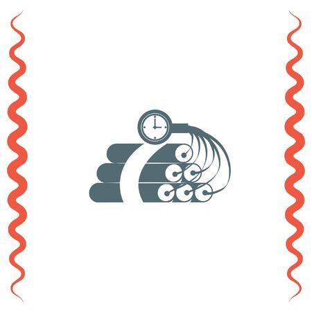 dinamita: Dinamita tiempo icono de vectores bomba. signo explosiva. Símbolo de equipo de destrucción