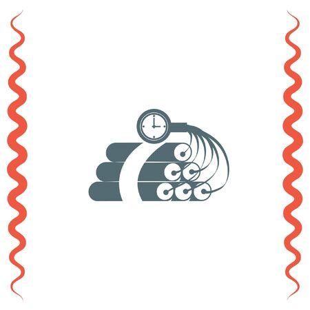 time bomb: Dynamite time bomb vector icon. Explosive sign. Destruction equipment symbol Illustration
