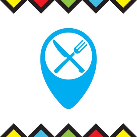 Street pin for restaurant vector icon. Diner navigation sign. Gps guiding symbol