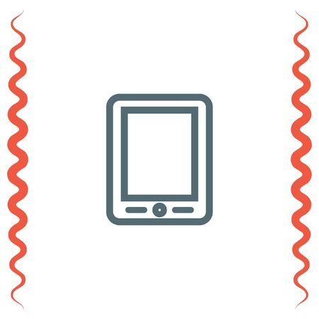 touchscreen: Tablet sign line vector icon. Touchscreen pad symbol.
