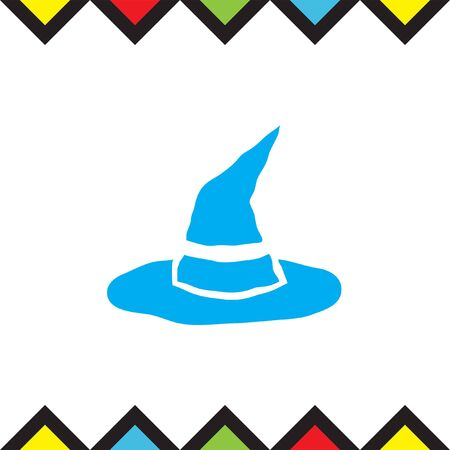 head wear: Witch hat vector icon. Halloween sign. Scary wizard head wear symbol