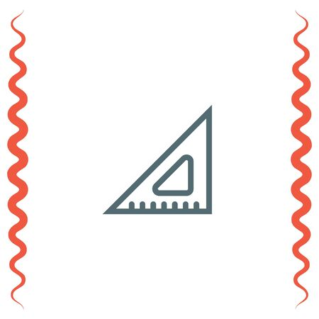 straightedge: Ruler line vector icon. Measure sign. Triangular ruler and straightedge symbol. Geometric pictograph.