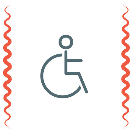 impairment: Wheelchair sign line vector icon. Disabled person icon. Human on wheelchair sign. Patient transportation symbol. Illustration