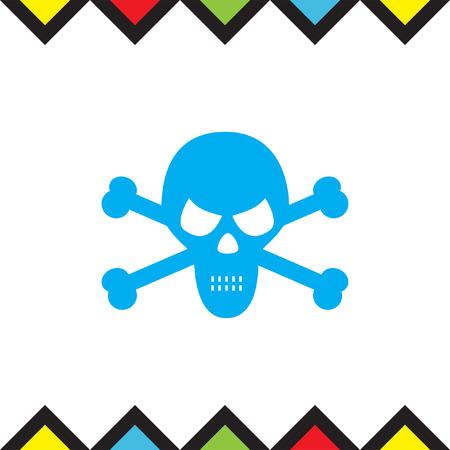Skull vector icon. Crossbones sign. Death symbol